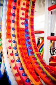 A bunch of multicolored hula hoop in a sports shop — Stock Photo