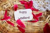 Outdoor greeting card with text - Happy weekend — Stock Photo