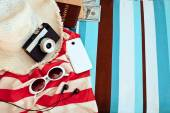 Stylish  accessories . Straw hat , camera and sunglases a  Summe — Stock Photo