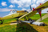 Crop duster airplane on airfield — Foto de Stock