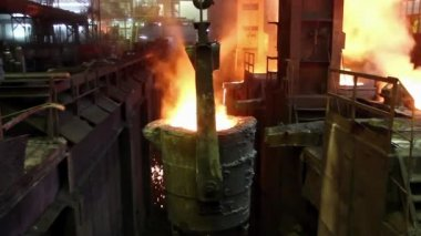 Molten steel pouring — Stockvideo