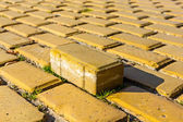 Yellow brick in pavement, one is standing out — Stock Photo