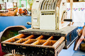 Old cash register in a museum of antiquities. — Stock Photo