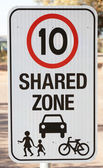Safety sign for shared zone — Stock Photo