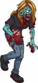 Walking zombie woman — Stock Vector