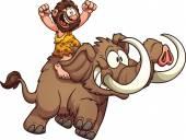 Caveman riding a mammoth — Stock Vector