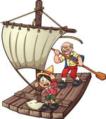 Pinocchio on a raft — Stock Vector