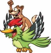 Weasel riding a woodpecker — Stock Vector