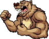 Mascote urso bravo — Vetor de Stock