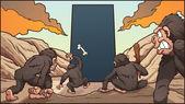 Monkeys and monolith — Stock Vector