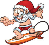 Surfing Santa — Stock Vector