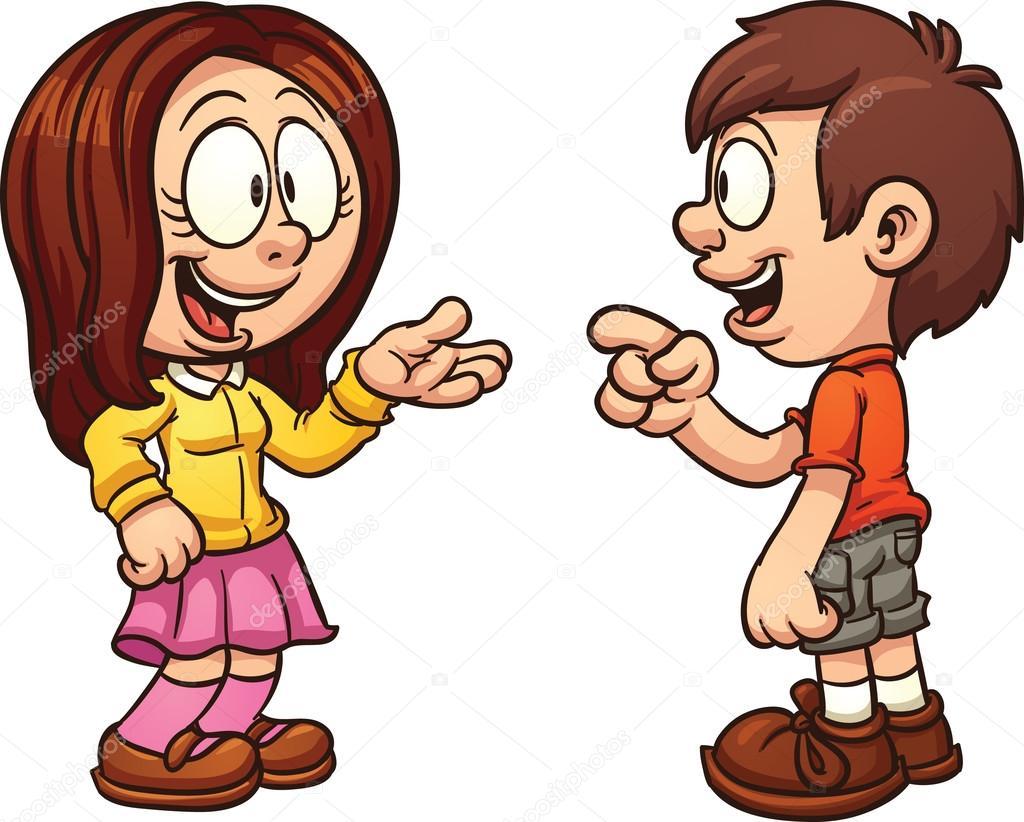 Niños hablando — Vector de stock © memoangeles #77095445