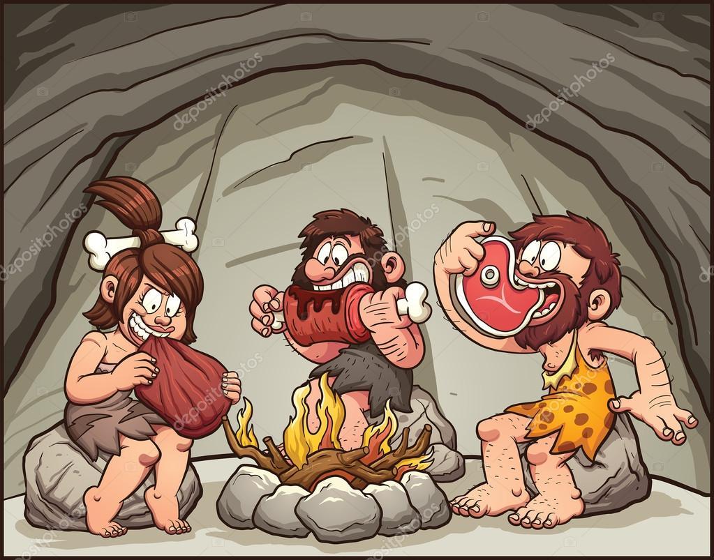 Cartoon cavemen eating meat — Stock Vector © memoangeles ...