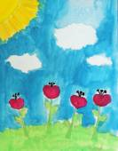 Dessin de l'enfant - paysage d'été avec fleurs rouges — Photo
