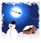 Illustration with snowman — Vector de stock