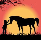 Silhouette of child petting a horse — Stock Vector