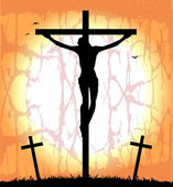 Silhouette of Christ on the cross — ストックベクタ