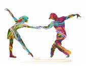Dancers silhouette — Stock Vector
