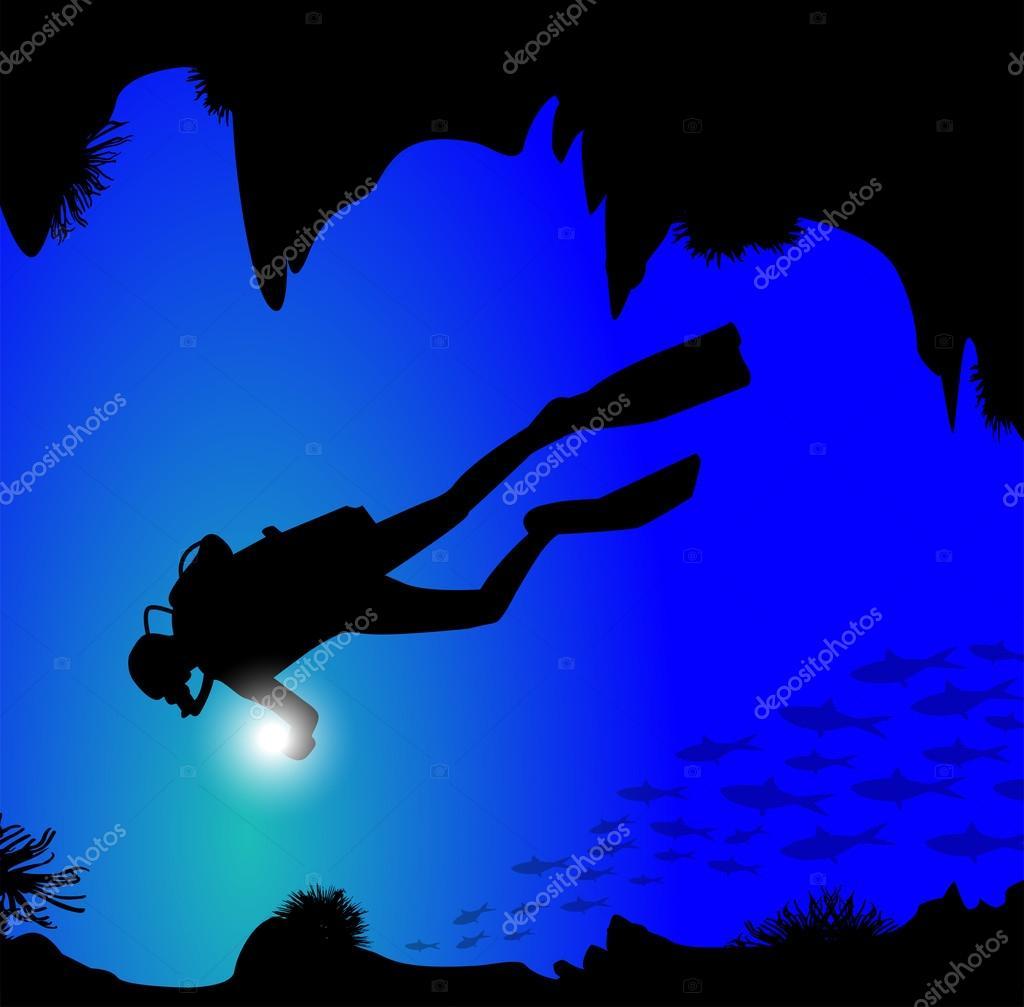 潜水员在海底的剪影– 图库插图