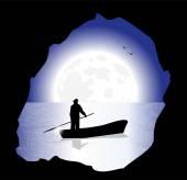 Fisherman in the night — Stock Vector
