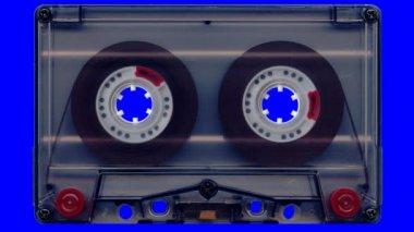 Audio tape ( blue screen) — Stock Video