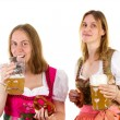 Girl drinking too much beer — Stock Photo