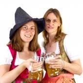 Clinking glasses at Oktoberfest — Stock Photo