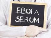 Doctor shows information: Ebola serum — Stock Photo