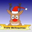 Illustration: Rudolph wishing Merry Christmas in german — Stock Photo #58341851