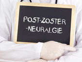 Doctor shows information: postherpetic neuralgia in german — Stockfoto