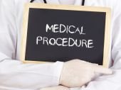 Doctor shows information: medical procedure — Stock Photo