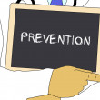 Illustration: Doctor shows information: prevention — Stock Photo #60121859