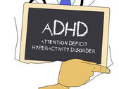 Illustration: Doctor shows information: adhd — Stock Photo