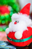 Close up Santa doll with bokeh background, dept of field. — Stock Photo