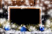 Blank blackboard with christmas decoration and snowflake. — Stock Photo