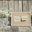 Постер, плакат: Vintage style effect Happy Saturday message on corkboard with fl
