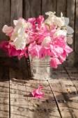 Flowers on aluminium bucket on grunge wall. Natural light — Stock Photo