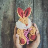 Rabbit doll in child hands, easter concept with vintage tone. — Stok fotoğraf