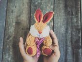 Rabbit doll in child hands, easter concept with vintage tone. — Stock Photo