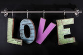 Wooden letters hanging — Stock Photo