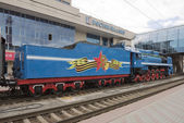 Soviet-speed passenger steam locomotive — Stock Photo