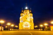 Saviour Transfiguration Cathedral with night illumination, Khaba — Stockfoto