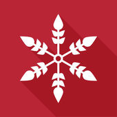 Snowflake in flat style on red background. Vector illustration — Stock vektor
