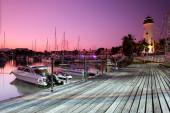 Marina with yachts sunset in phuket — Stock Photo