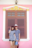 Portrait of attractive asian couple in old town — 图库照片