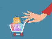 Woman hand with cart shopping concept vector illustration — Stock Vector