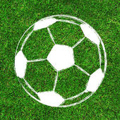 Soccer Football painting design on green field background — Stock Photo