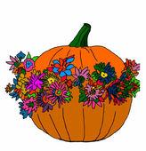Abóbora de Halloween com flores sobre fundo branco — Vetor de Stock