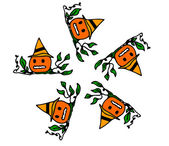 Halloween pumpkin with flowers on white background — Stock Vector