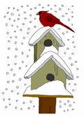 Bird houses in the snow — Stock Vector